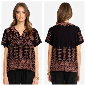 { Johnny Was } Eyal Knit Embroidered Boxy Tee